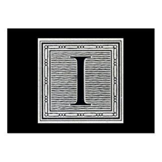 "Block Letter ""I"" Woodcut Woodblock Inital Large Business Card"