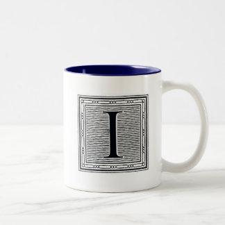 """Block Letter """"I"""" Woodcut Woodblock Inital Two-Tone Mug"""