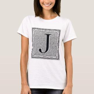 """Block Letter """"J"""" Woodcut Woodblock Inital T-Shirt"""