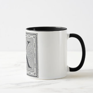 """Block Letter """"K"""" Woodcut Woodblock Inital Mug"""