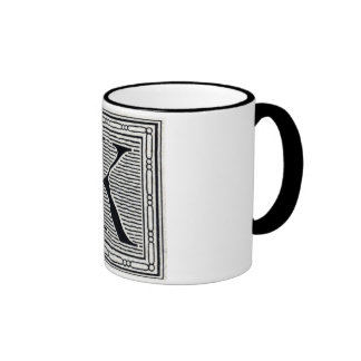 """Block Letter """"K"""" Woodcut Woodblock Inital Coffee Mugs"""