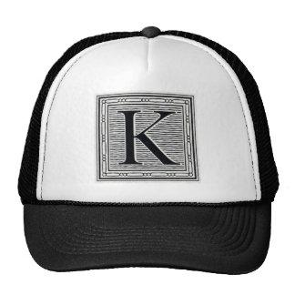 "Block Letter ""K"" Woodcut Woodblock Inital Trucker Hat"
