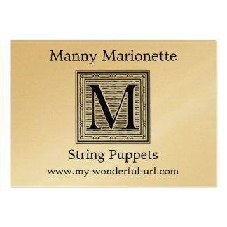 "Block Letter ""M"" Woodcut Woodblock Inital Large Business Card"