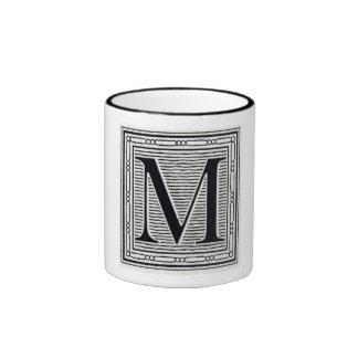 "Block Letter ""M"" Woodcut Woodblock Inital Ringer Coffee Mug"