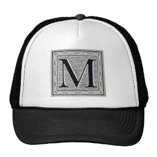 "Block Letter ""M"" Woodcut Woodblock Inital Trucker Hat"