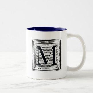 "Block Letter ""M"" Woodcut Woodblock Inital Two-Tone Coffee Mug"