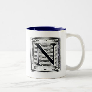 "Block Letter ""N"" Woodcut Woodblock Inital Two-Tone Coffee Mug"