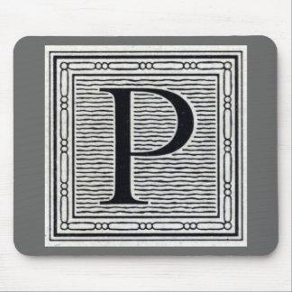 """Block Letter """"P"""" Woodcut Woodblock Inital Mousepad"""