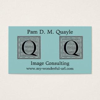 "Block Letter ""Q"" Woodcut Woodblock Initial Business Card"