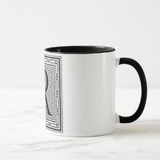 """Block Letter """"R"""" Woodcut Woodblock Inital Mug"""