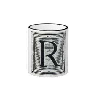 """Block Letter """"R"""" Woodcut Woodblock Inital Ringer Mug"""