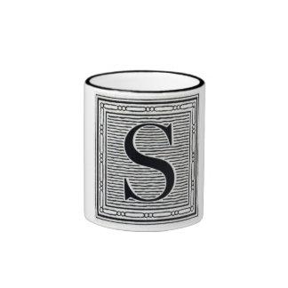 """Block Letter """"S"""" Woodcut Woodblock Inital Coffee Mugs"""