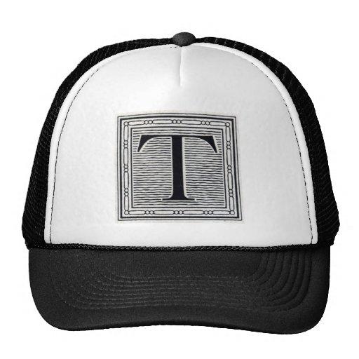"Block Letter ""T"" Woodcut Woodblock Inital Trucker Hats"
