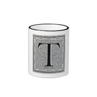 """Block Letter """"T"""" Woodcut Woodblock Inital Ringer Coffee Mug"""