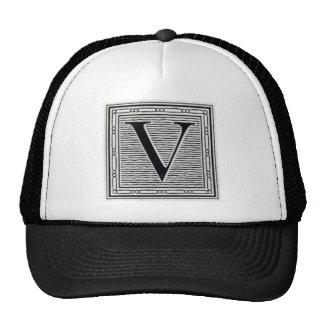 "Block Letter ""V"" Woodcut Woodblock Inital Trucker Hat"