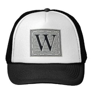 "Block Letter ""W"" Woodcut Woodblock Inital Trucker Hat"