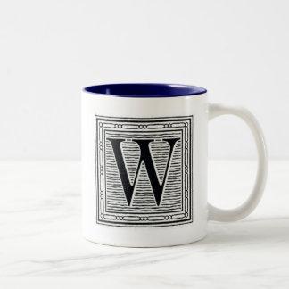 """Block Letter """"W"""" Woodcut Woodblock Inital Two-Tone Mug"""