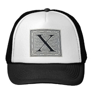 "Block Letter ""X"" Woodcut Woodblock Inital Trucker Hat"