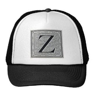 "Block Letter ""Z"" Woodcut Woodblock Inital Trucker Hat"