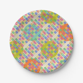 Block Letters 7 Inch Paper Plate