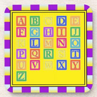 Block Letters Beverage Coaster