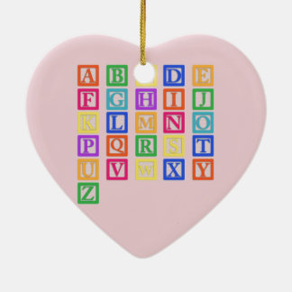 Block Letters Ceramic Heart Ornament