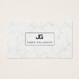 BLOCK Monogram Black Open Frame ON White Marble Business Card