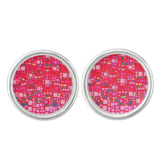 block on block,hot pink (C) Cufflinks