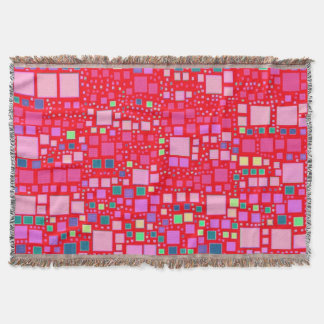 block on block,hot pink (C) Throw Blanket