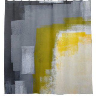 'Block Party' Grey and Yellow Abstract Art