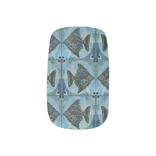 Block print marine fish nail art