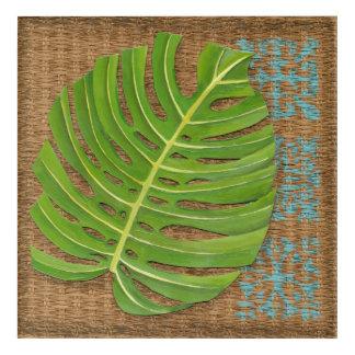 Block Print Palm on Wicker Background Acrylic Wall Art