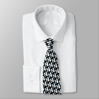 Block retro graphic letter N monogram pattern tie