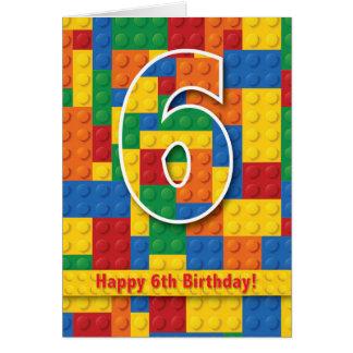 Blocks Happy 6th Birthday Card