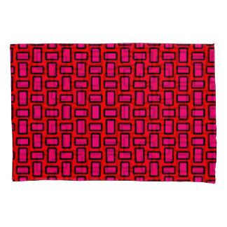 Blocks Modern Red Pink Pillowcase Set