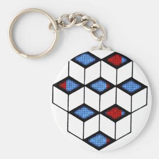 Blocks of Illusion Basic Round Button Keychain