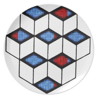 Blocks of Illusion Party Plates