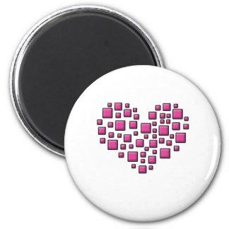 Blocky Heart 2 Inch Round Magnet