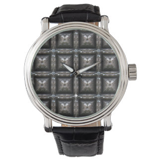 Blocky Metal Pattern Fashion Watch- Steampunk Watch