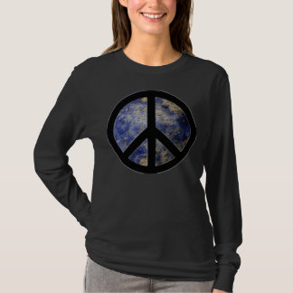 BlogBlast For Peace Ladies Black T-Shirt with Peac
