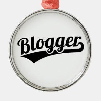 Blogger Silver-Colored Round Ornament