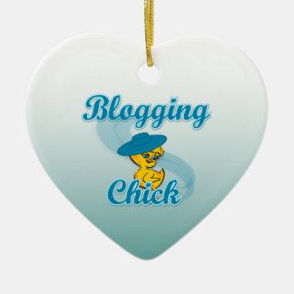 Blogging Chick #3 Ceramic Heart Ornament