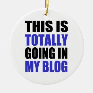 Blogging Round Ceramic Ornament