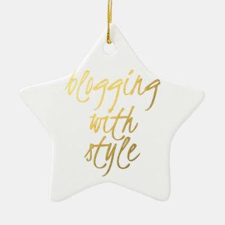 Blogging with Style - Gold Script Ceramic Ornament