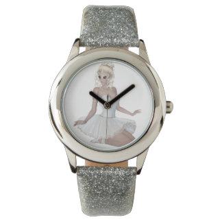 Blond Ballerina Custom Silver Glitter Watch