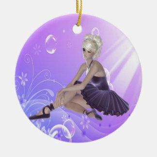 Blond Ballerina Round Ceramic Ornament