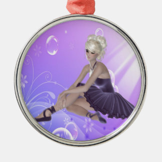 Blond Ballerina Silver-Colored Round Ornament