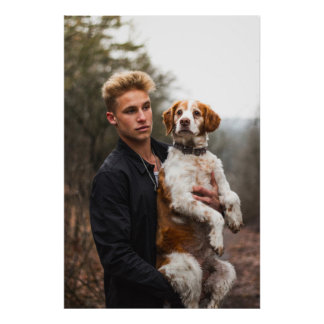 Blond Boy and Dog Poster