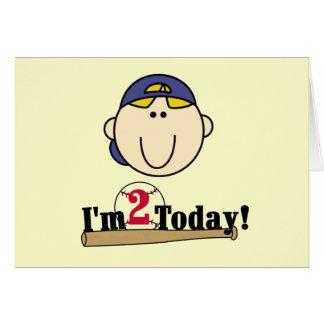 Blond Boy Baseball 2nd Birthday Tshirts Card