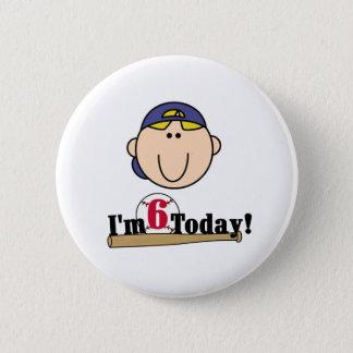 Blond Boy Baseball 6th  Birthday 2 Inch Round Button